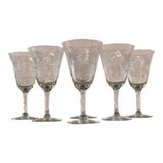 Vintage 1950s Floral Tall Glass Wine Stems, Set of 6 For Sale