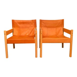 Vintage Mid Century Otto Gerdau Saddle Leather Safari Sling Chairs - a Pair For Sale