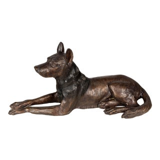 Mid 20th Century Cast Bronze Dog Sculpture For Sale