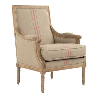 Audley Club Chair in Beige Cotton with A Red Stripe For Sale