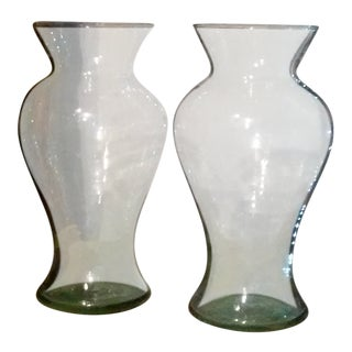 Hand Blown Glass Vases - A Pair