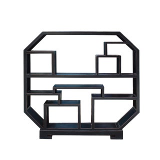 Chinese Distressed Black Octagon Bookcase Display Cabinet Room Divider For Sale