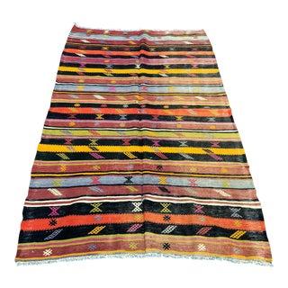 1960s Vintage Colorful Striped Decorative Turkish Kilim Rug- 4′3″ × 7′ For Sale