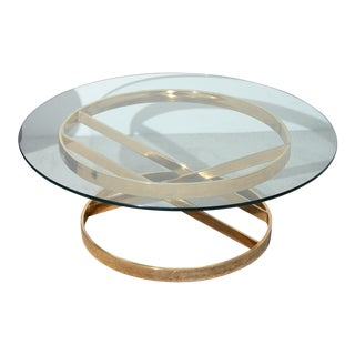 Round Brass and Glass Coffee Table For Sale