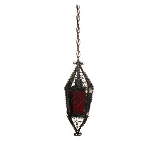 Small Handmade Moorish Lantern With Red Glass For Sale