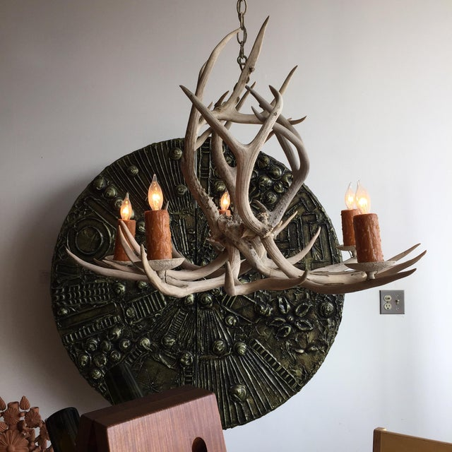 Vintage five-light antler chandelier with a beautiful, sculptural form and bleached patina.
