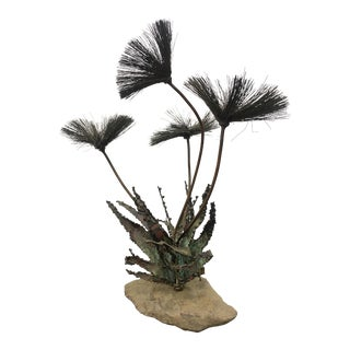 1970s Brutalist Wire Metal Flower Sculpture For Sale
