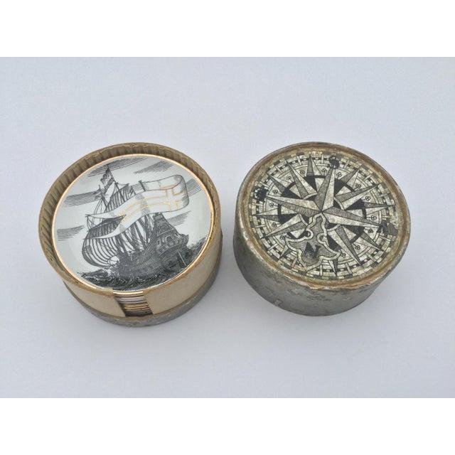 Mid-Century Modern Mid Century Italian Piero Fornasetti for Bonwit Teller Tall Ship Coasters - Set of 8 For Sale - Image 3 of 6