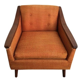 Vintage Mid Century Tufted Orange Fabric Side Arm Cocktail Club Chair For Sale