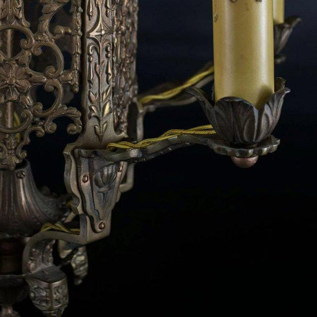 Late 1920's American Five Light Chandelier For Sale - Image 4 of 8