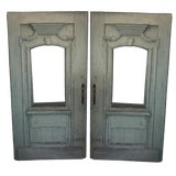 Image of Late 18th Century Antique Green French Doors- A Pair For Sale