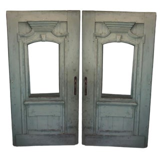 Late 18th Century Antique Green French Doors- A Pair For Sale