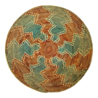 1990s Vintage Coiled Southwestern Style Woven Basket Shallow Bowl For Sale