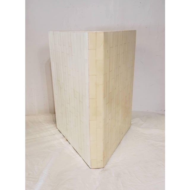 Beautiful bone inlay pedestal is triangular shaped with a grid pattern thru-out. Great to display art, plants, etc Our...