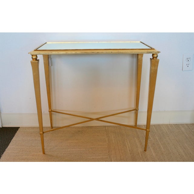 Hollywood Regency Gold Leaf Mirrored Side Table For Sale - Image 3 of 7