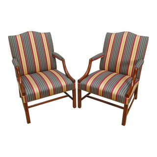 Chippendale Style Custom Mahogany Pair of Library Arm Chairs by Chestnut Hill Furniture