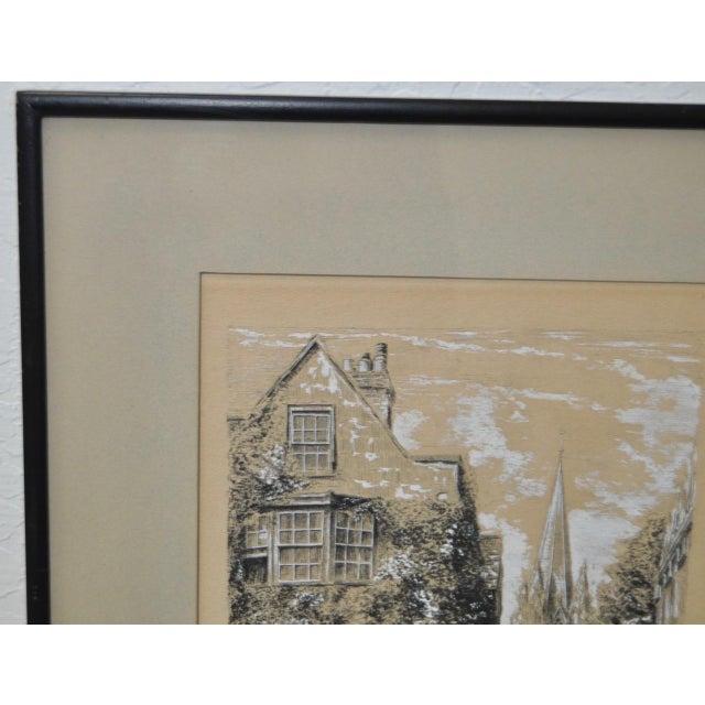 "Illustration Oriel Street, Oxford Original Illustration ""Dominus Illuminatio mea"" c.1953 For Sale - Image 3 of 10"