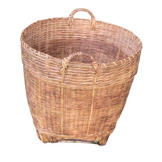 Monumental Mid Century Vintage Chinoiserie Asian Woven Rattan Basket For Sale