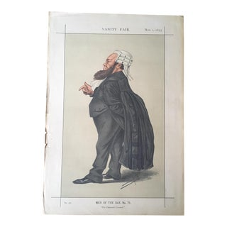 Antique Caricature of Dr. Edward Kenealy From Vanity Fair, November 1, 1873