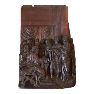 17th Century Antique Early Baroque Flemish Wood Carved Religious Figural Group Sculpture For Sale