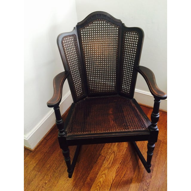 Vintage Wood & Cane Rocking Chair - Image 2 of 8