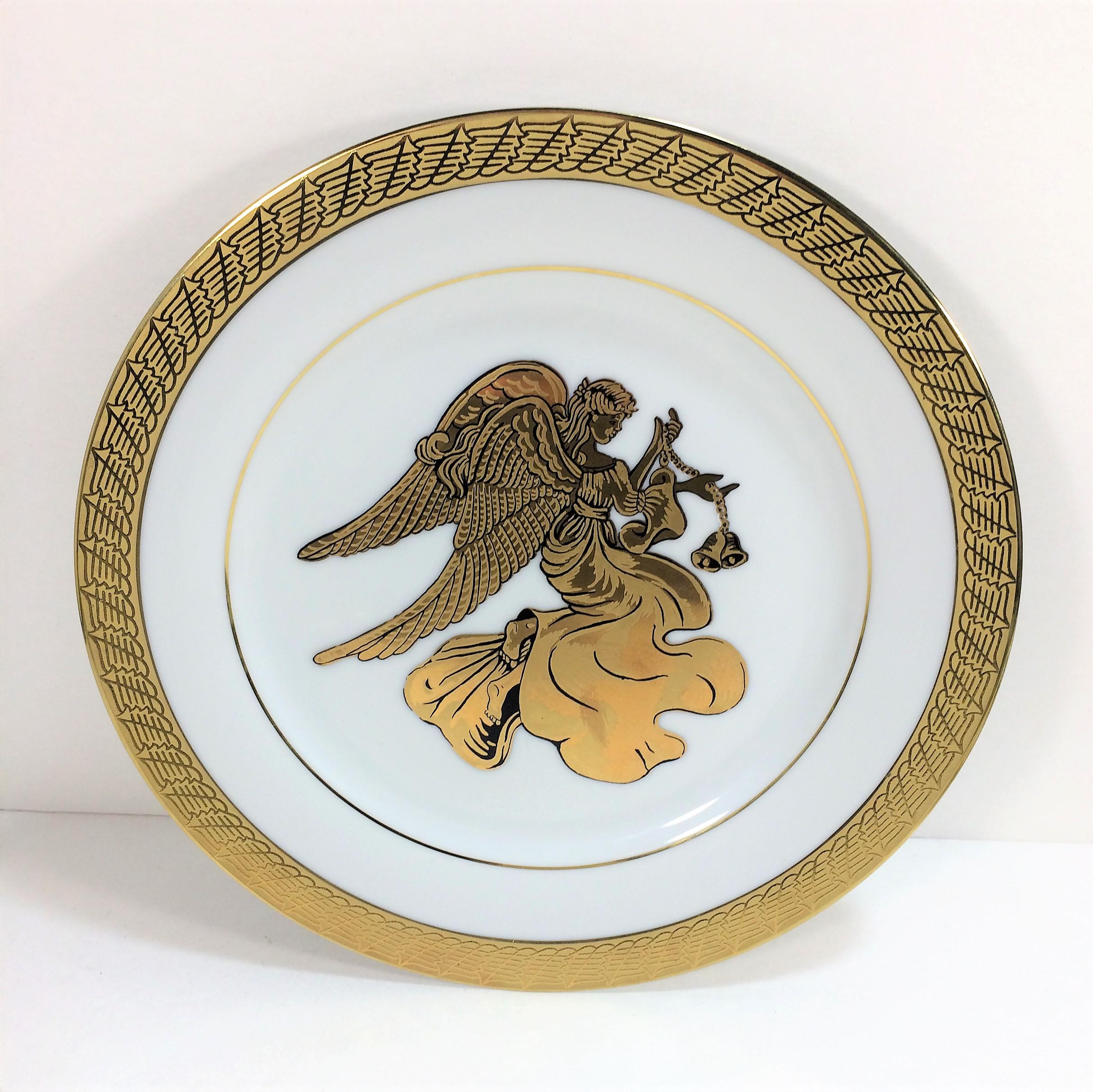 Vintage Renaissance Angels White \u0026 Gold Porcelain Dinnerware or Decorative Plates - Set of 4 - & Vintage Renaissance Angels White \u0026 Gold Porcelain Dinnerware or ...