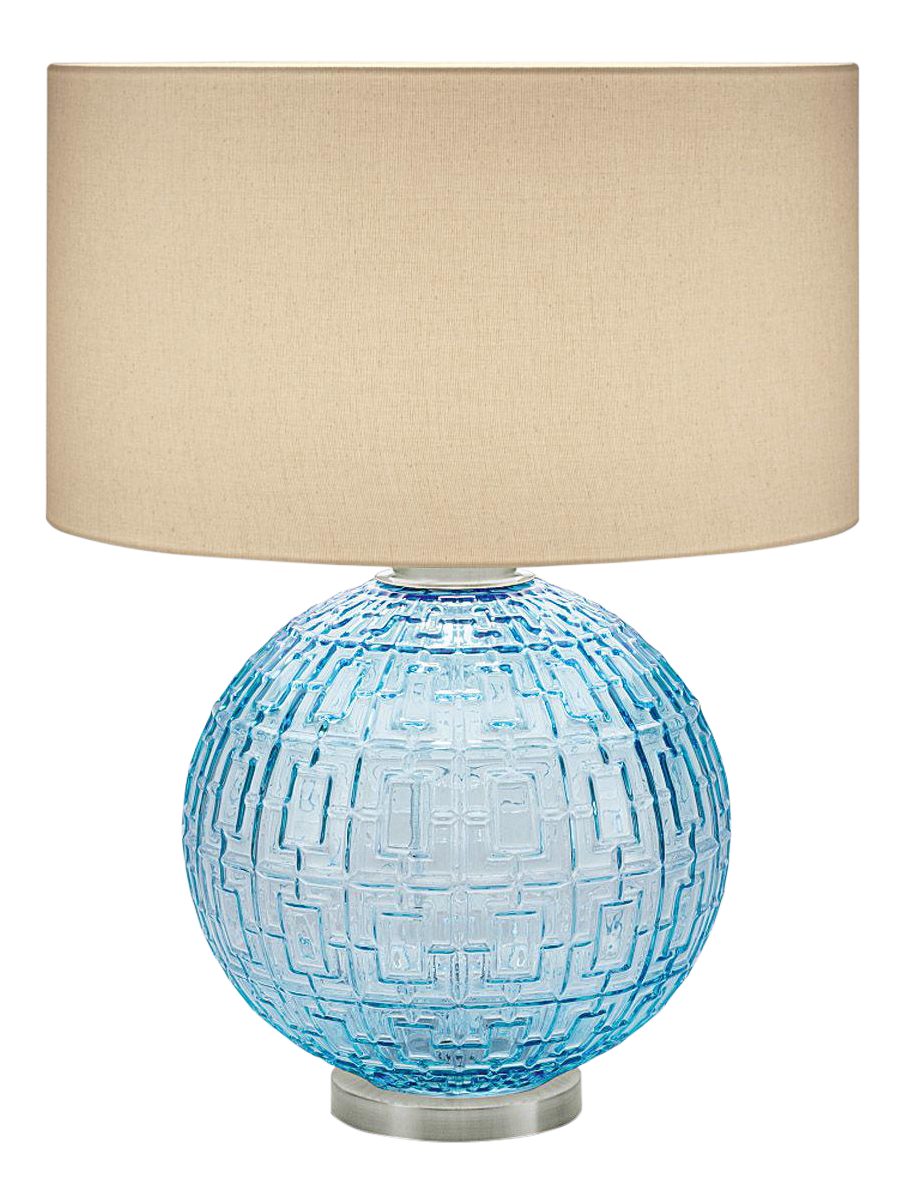 Contemporary Aqua Glass With Brushed Nickel Table Lamp And Shade
