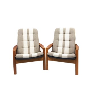 Domino Mobler Mid-Century Danish High Back Lounge Chairs - a Pair