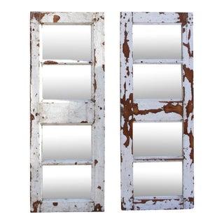 Set of Two Antique Window Panel Mirrors