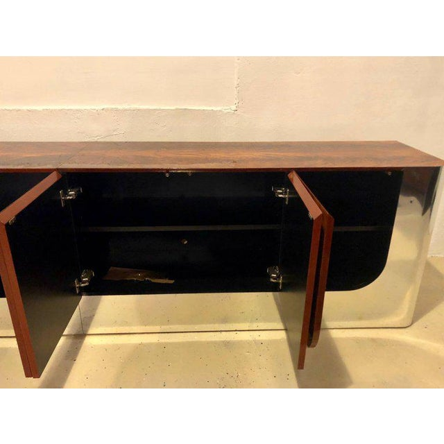 Monumental Sideboard of Chrome and Burl Wood by Pace Collection For Sale - Image 4 of 12
