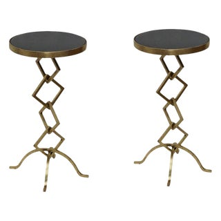Flynn Accent Side End Table- Set of 2, Living Room, Granite Top, Round Contemporary Style, Unique Design- Gold Leafing For Sale