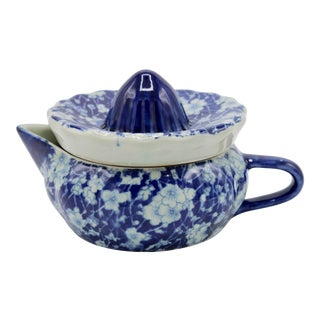 Vintage Blue and White Ceramic Ironstone Juicer For Sale