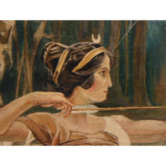"""Early 20th Century """"Diana"""", Oil on Canvas by M. De Wilde For Sale - Image 5 of 9"""
