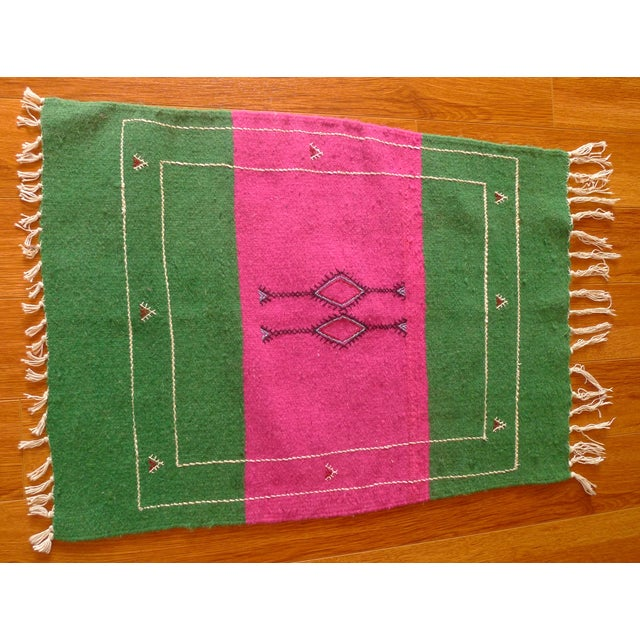 Moroccan Green & Pink Small Wool Rug - 1′9″ × 2′6″ - Image 3 of 6