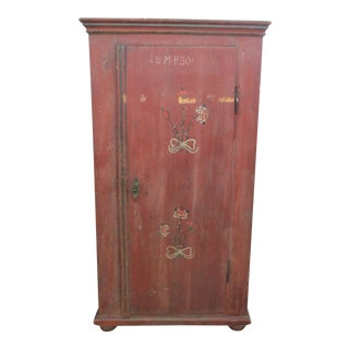 Antique Swedish Original Paint Cupboard Cabinet For Sale