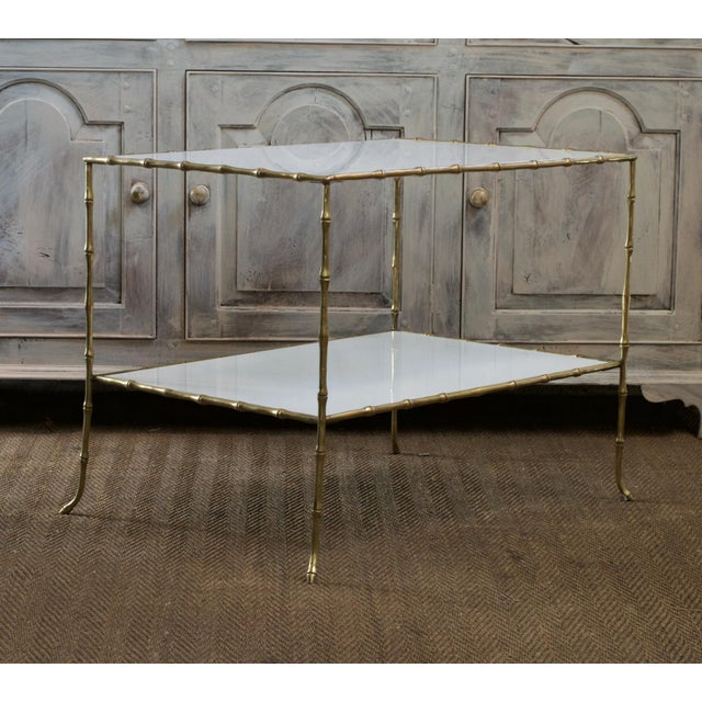 Maison Bagues Faux Bamboo Table With White Glass Top For Sale - Image 11 of 11