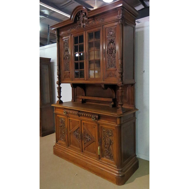 Traditional Early 20th Century Antique Renaissance Style China Cabinet - 2 Pieces For Sale - Image 3 of 6