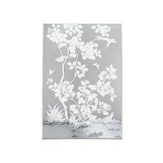 Framed Grey Gracie Wallpaper Panel For Sale