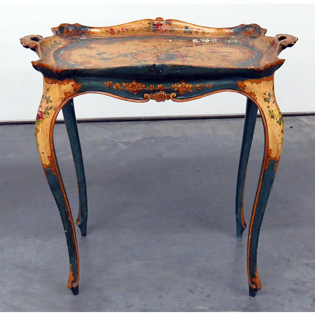 Antique Venetian paint decorated tray / coffee table.
