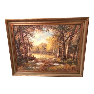 """Fall Trees Framed Oil Painting 36""""x 48"""" For Sale"""