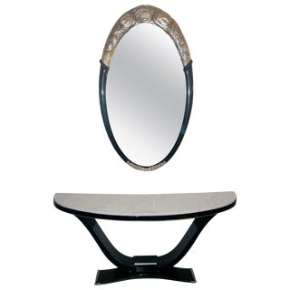Black and Silver Console and Mirror From South Beach - 2 Piece Set For Sale