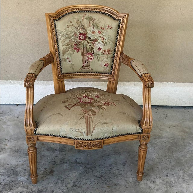 Louis XVI Pair of Louis XVI French Aubusson Tapestry Fruitwood Armchairs For Sale - Image 3 of 13
