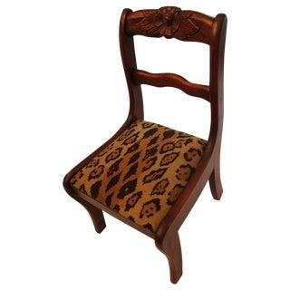 Vintage Child Size Leopard Needlepoint Seat Decorative Chair For Sale