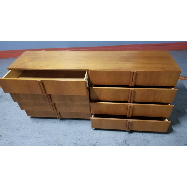 Brown Mid Century Modern Danish 8 Drawer Credenza Dresser For Sale - Image 8 of 12