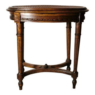 """1880s Louis XVI-Style Wooden Stool With """"Vienna Straw"""" Seat For Sale"""