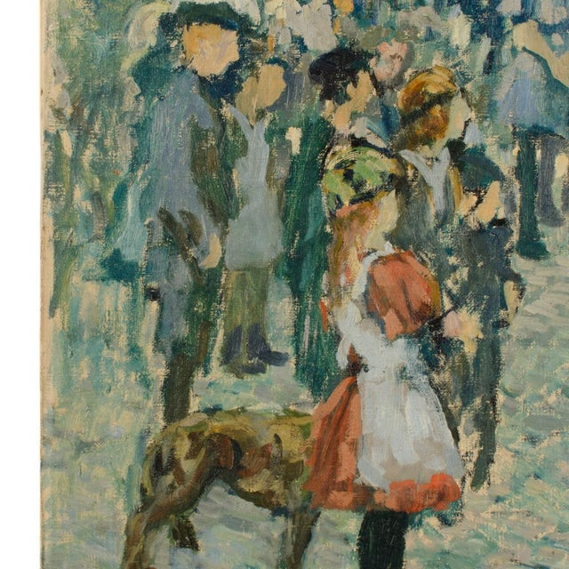 "1920s ""Performing Bear"" Rustic European Village Scene Oil Painting by Richard Bloos For Sale In Philadelphia - Image 6 of 11"