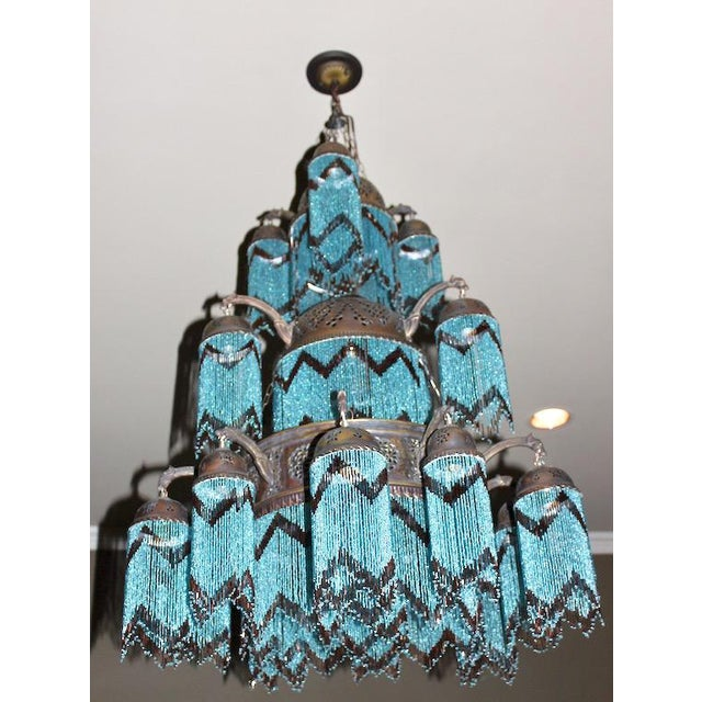 Vintage 3-Tier Turquoise Beaded Brass Chandelier - Image 2 of 3