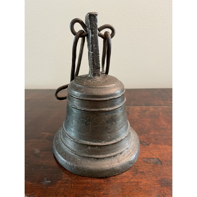 18th Century Italian San Camilo Cast Bronze & Hand Forged Ringing Bell W/ Chain For Sale - Image 13 of 13