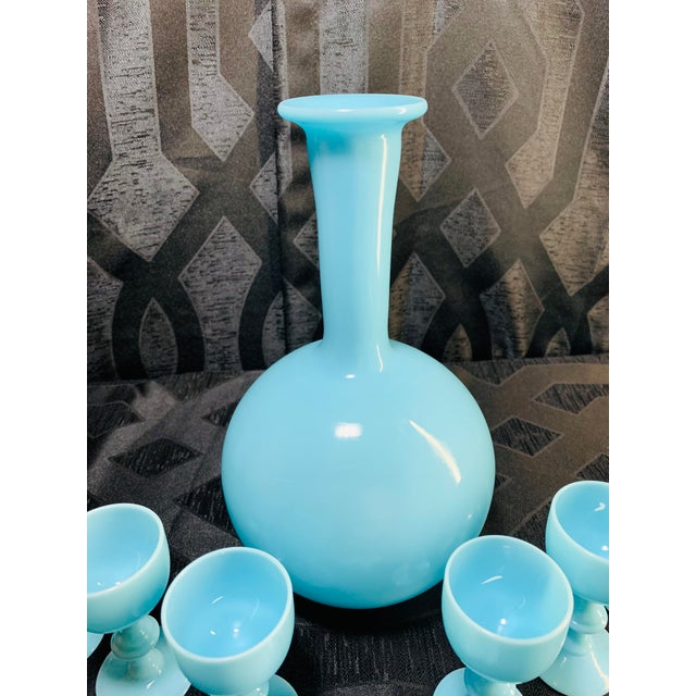 1930s Antique French Blue Opaline Decanter and Cordial Goblets Glassware Portieux Vallerysthal - Set of 7 For Sale In Chicago - Image 6 of 13