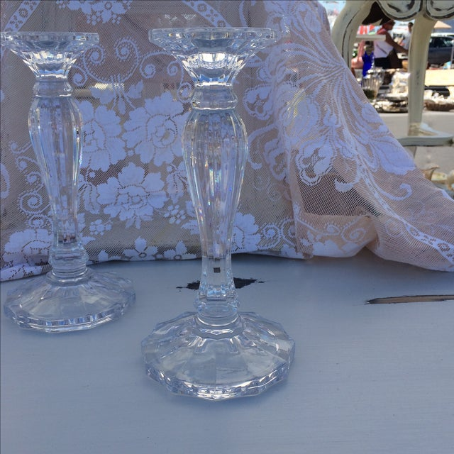Crystal Candle Sticks - Pair - Image 3 of 4